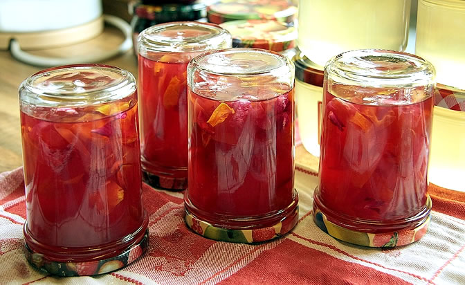 Jars of rose petal jam